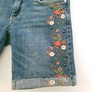 Anthropologie Shorts - Anthro Pilcro Blue Floral Embroidered Cutoff Short